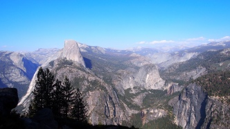 Half Dome with Vernal and Nevada Falls in the bottom right quadrant