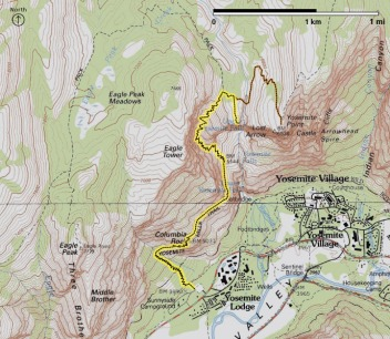 Yosemite Falls Trail Topographical - From nps.gov